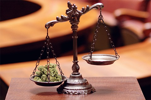marijuana justice scales courtroom illustration