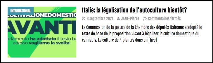 a lire sur le cannabiste italie autoculture